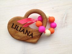 Personalized teether, wood teether, Silicone teether, baby girl toy,  wooden toy, personalized baby gift, newborn gift,