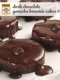 Dark Chocolate Ganache Brownie Cakes