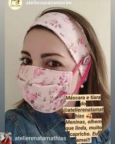 Reposted from Máscara + Faixa de Cabelo ,ela adorou e Vc?Ahhhh genteeeee,que fo… Mouth Mask Fashion, Fashion Mask, Diy Fashion, Sewing Hacks, Sewing Crafts, Sewing Projects, Easy Face Masks, Diy Face Mask, Crochet Wallet