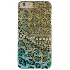 Shop Aqua Gold Leopard Animal Print Glitter Look Jewel Case-Mate iPhone Case created by PatternsModerne.