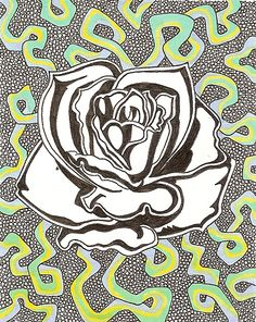 Rose: Ink and marker drawing