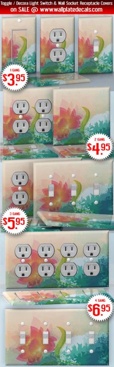 DIY Do It Yourself Home Decor - Easy to apply wall plate wraps   Charmed Pink Pink flower on blue-green background wallplate skin stickers for single, double, triple and quadruple Toggle and Decora Light Switches, Wall Socket Duplex Receptacles, and blank decals without inside cuts for special outlets   On SALE now only $3.95 - $6.95