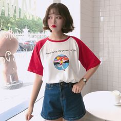 2017 Summer New Character Letter Printed Cute Loose Causal All Match Short Sleeve Female T-shirts #Affiliate