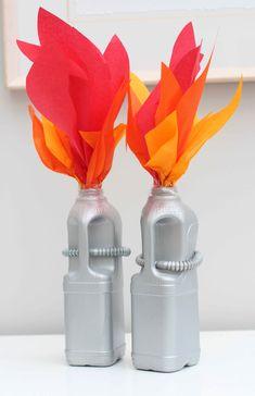 Milk Bottle Rockets from DIY Cardboard Darth Vader space ship!