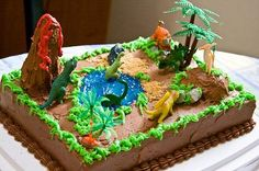 Dinosaur 5th Birthday Cake: It was my son's 5th birthday and he is always playing with his dinosaurs so I thought I would make him a dinosaur cake. I did not use a special pan, but