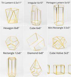 Glass Geometric Terrarium/ Wedding Table Decor/ Succulent   Etsy Terrarium Wedding Centerpiece, Gold Terrarium, Wedding Table Centerpieces, Succulent Centerpieces, Wedding Decorations, Geometric Decor, Geometric Wedding, Creations, Wedding Ideas
