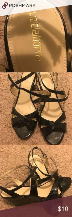 Black Strappy Low Heels BRAND NEW Black patent leather low heels Liz Claiborne Liz Claiborne Shoes Sandals