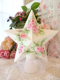 2 SIDE PINK ROSE TREE STAR shabby daSommers hp hand painted chic vintage cottage