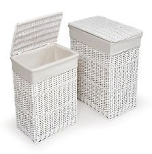 White Wicker 2 Hamper/Laundry Basket Set w/Fabric Liners NEW