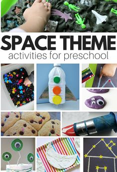 Space theme crafts, books, and sensory play for preschool Planets Preschool, Space Theme Preschool, Planets Activities, Space Activities For Kids, Circle Time Activities, Preschool Learning, Preschool Activities, Space Theme For Toddlers, Summer Preschool Themes