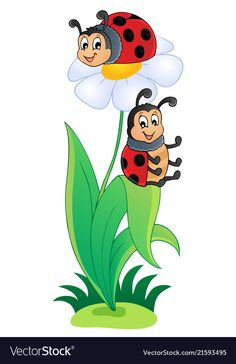 Image with ladybug theme 3 Royalty Free Vector Image Art Drawings For Kids, Pencil Art Drawings, Drawing For Kids, Cute Drawings, School Wall Decoration, School Decorations, Ladybug Art, School Murals, School Painting