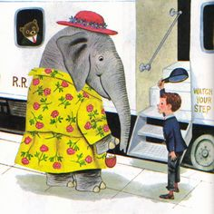 """Golden Book of Manners, Richard Scarry, Mrs. Elephant from the """"My Little Golden Book of Manners"""", 1962 By Peggy Parish Illustrations by Richard Scarry Elephant Illustration, Children's Book Illustration, Elephant Love, Elephant Art, Vintage Elephant, Elephas Maximus, Richard Scarry, Little Golden Books, Vintage Children's Books"""