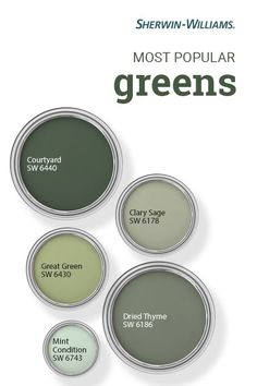 Mother Nature isn't the only one who loves the color green—so do Sherwin-Williams customers. This hue is consistently popular with DIYers looking to bring an organic, natural vibe to their painting projects. In some of the most commonly purchased gre Sage Green Paint, Green Paint Colors, Exterior Paint Colors, Paint Colors For Home, Room Colors, Wall Colors, House Colors, Sage Green House, Colours