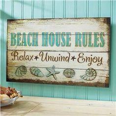 The Beach Quotes Shop: Beach House Rules Wood Sign - chryssa-home decor ideas Beach Cottage Style, Beach Cottage Decor, Coastal Style, Coastal Decor, Lake Decor, Coastal Living, Nyc Decor, Seaside Decor, Arte Pallet