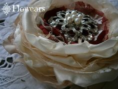 Bridal fabric flower in ivory and champagne Wedding by Flowears, $26.50