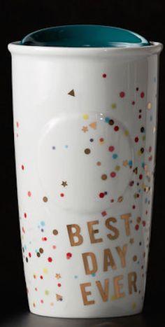 'Best Day Ever' confetti travel mug