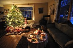 Twinkle lights and candles illuminate the Soule family home