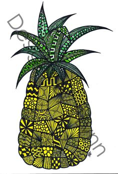 """Zentangle - Pineapple Paradise This is a print of an original hand drawn design done in pen. The print is on thick quality 8"""" x 10"""" paper. Also, the watermark that is shown on the item picture will not be there once purchased and printed."""