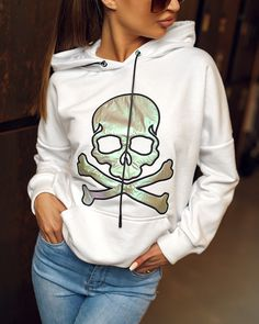 Biela dámska mikina s lebkou Hoodies, Sweaters, Jackets, Fashion, Down Jackets, Sweatshirts, Moda, La Mode, Pullover