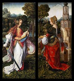 Master of Frankfurt, St Catherine, St Barbara, 1510-1520, oil on panel 158.7 x 70.8 cm (each), Mauritshuis Royal Picture Gallery, The H...