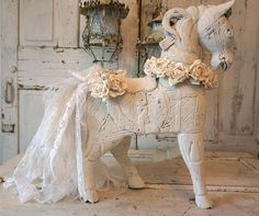Wooden horse statue hand carved large heavy French Nordic inspired piece embellished white roses lace tattered tail decor anita spero design