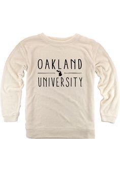 5b9c84cf845f Oakland University Golden Grizzlies Womens Oatmeal Cozy Crew Sweatshirt -  17770286