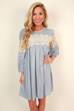 The Best Of Times Crochet Shift Dress in Sky Blue