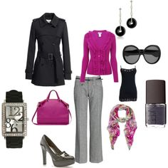 Black, gray, pink! Very much an office outfit