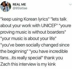 It was a breath of fresh air if you haven't watched it search zach sang bts interview it's AMAZING # zachforpresident # nothingbutrespectformypresident