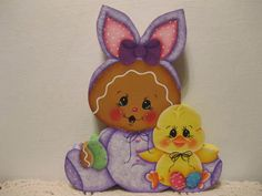 HP Gingerbread Easter bunny suit and chick SHELF SITTER hand painted USA in Handpainted Items | eBay