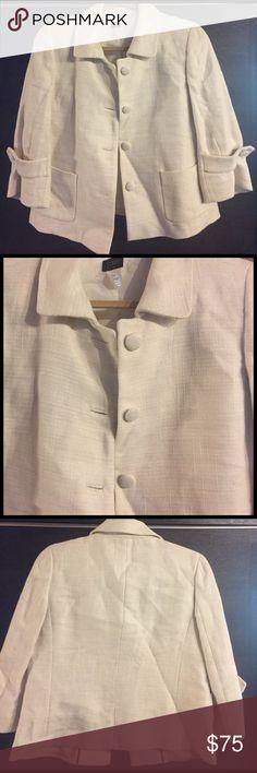 J. Crew Size 8, Linen/Cotton blazer Beautiful J. Crew linen/cotton blazer in deep cream/natural color. Oversized buttons and crisp collar. Pre loved condition. Perfect Spring/ Summer blazer. Make me an offer! J. Crew Jackets & Coats Blazers