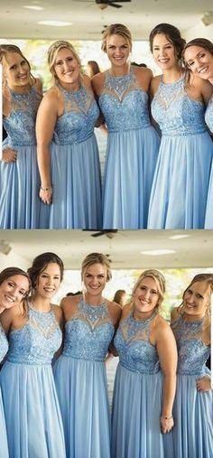 b11e4bd94aee A-line Halter Lace Appliques Top Blue Chiffon Bridesmaid Dresses, BD0523  A-line Halter Lace Appliques Top Blue Chiffon Bridesmaid Dresses, BD0523