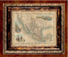 Antiqued Mirror With World Map And Baroque Frame Verre Eglomise - Parchment paper map of us