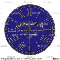 Vintage Look French Cafe Large Clock