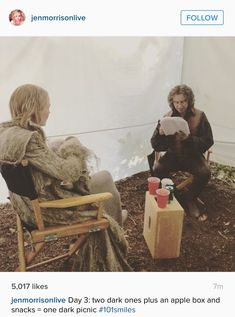 It looks like Rumple is telling Emma a story! Once Upon A Time behind the scenes!