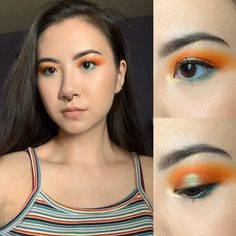 Orange and green to go with my top- CC welcome : MakeupAddiction Orange Makeup, Green Makeup, Crochet Braids Hairstyles, Diy Hairstyles, Channel Makeup, Anime Makeup, How To Match Foundation, Magic Eyes, Cosplay Makeup