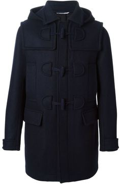 $2,566, Navy Duffle Coat: Valentino Hooded Duffle Coat. Sold by farfetch.com. Click for more info: https://lookastic.com/men/shop_items/155804/redirect