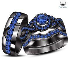 Men's Women's Trio Ring Set Round Cut Blue Sapphire Black Gold Finish 925 Silver