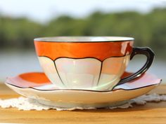 Iridescent Teacup and Saucer Pearlized Vintage by TheVintageTeacup