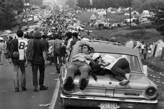 A road leading to the Woodstock Festival in 1969