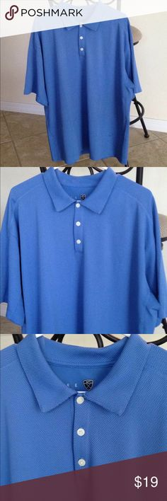 Nike Golf Shirt Men's Nike Golf Shirt. This is a performance fabric, Nike sphere dry. Nice weight to it, not super thin. Great color of blue!!! Shirt has a texture to it, as shown in pictures. My husband wore this a couple of times. Good condition!!!!⛳️ Nike Shirts