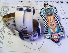 pen & ink drawing on polymer clay by Alice Stroppel