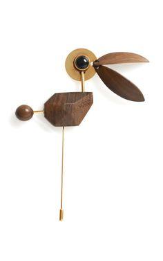 Marni - Wooden Bird Brooch