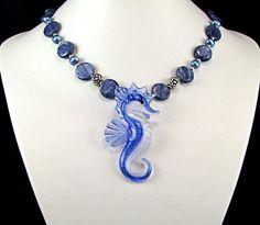 Boro Glass Seahorse Kyanite Necklace  N317 by TheSilverBear #JOD #JewelryOnEtsy