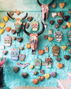 Sayulita, Mexico souvenirs: colorful skulls and antlers Cultural Crafts, Colorful Skulls, Mexican Art, Mexican Stuff, Puerto Vallarta, Beautiful Places To Visit, Mexico Travel, Adventure Is Out There, Destination Wedding Photographer