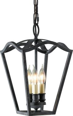 Murray Feiss F2324 King's Table 3 Light Foyer Pendant Antique Forged Iron Indoor Lighting Pendants