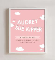 Clouds Birth Announcement wall art - 8x10 print