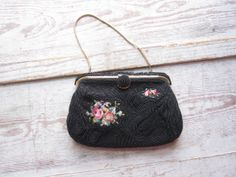 Black Bead and Petit Point Purse by momentofnostalgia on Etsy, $48.00