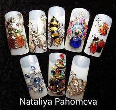 Swarovski Nails, Rhinestone Nails, Bling Nails, 3d Nails, Cute Nails, Animal Nail Art, 3d Nail Art, Xmas Nails, Christmas Nails