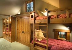 O bunks, cabinet type closet